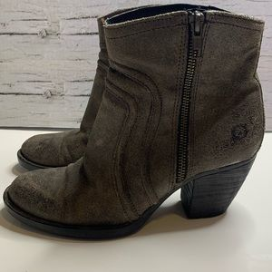 Born Abby Grey Distressed Leather Ankle Booties
